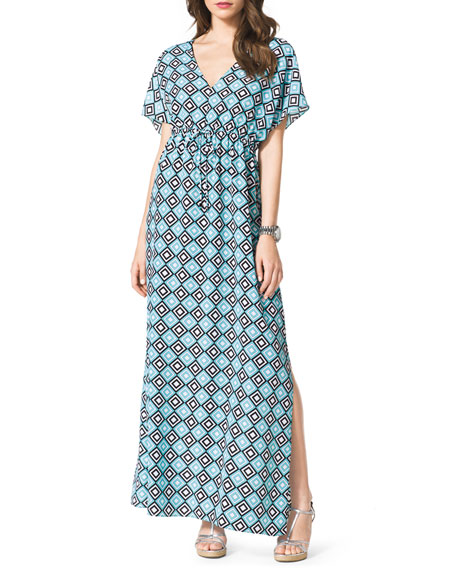 Diamond-Print Short-Sleeve Maxi Dress