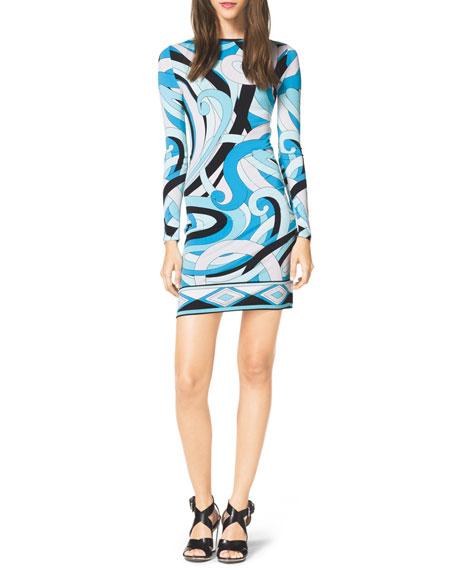 Long-Sleeve Printed Jersey Dress