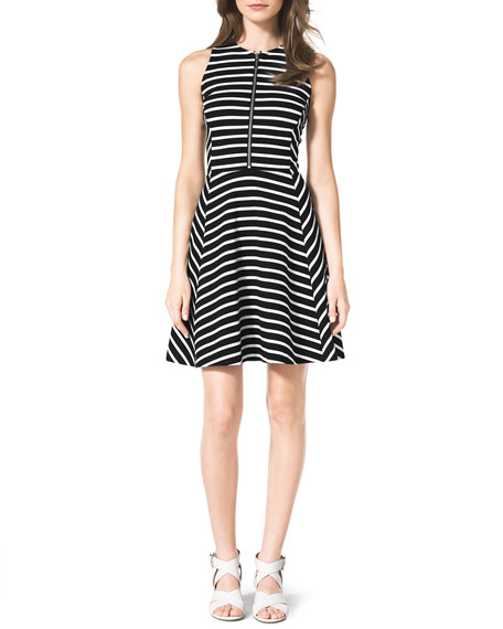 Striped Front-Zip Ponte Dress