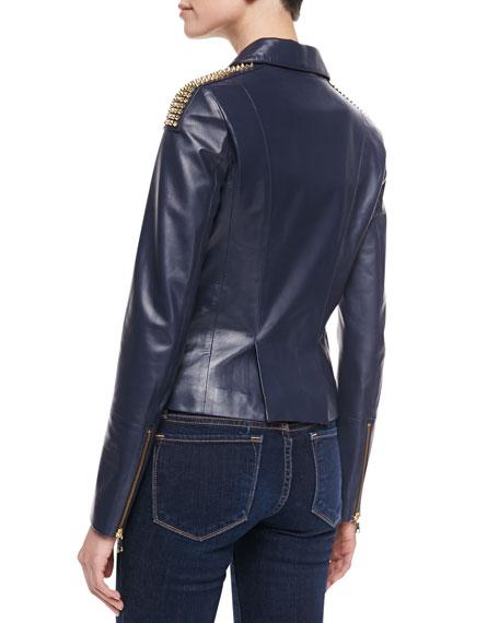 Studded Lambskin Moto Jacket