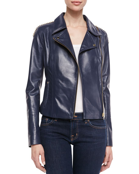 Jo Peters Studded Lambskin Moto Jacket