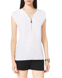 MICHAEL Michael Kors Zip-Trim Blouse