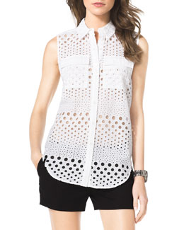 MICHAEL Michael Kors  Eyelet Sleeveless Blouse