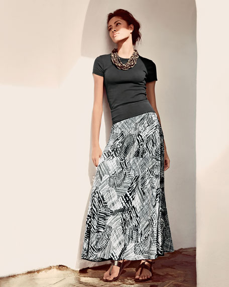 Graphic Print Maxi Skirt