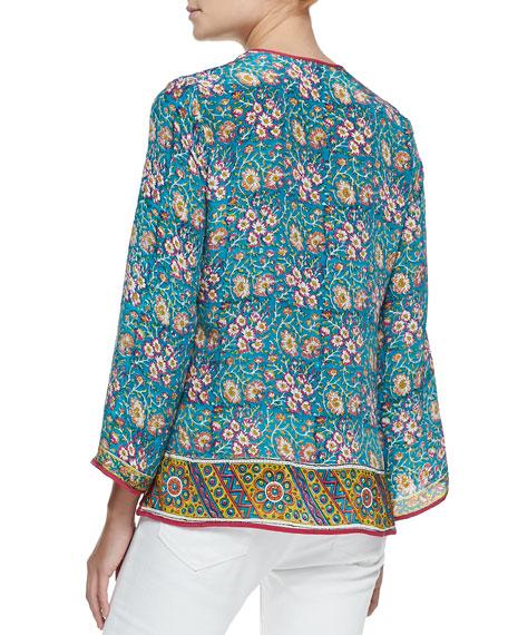 Leah Long-Sleeve Silk Tunic