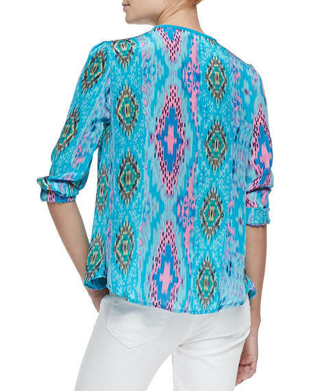 June Long-Sleeve Butterfly-Print Tunic