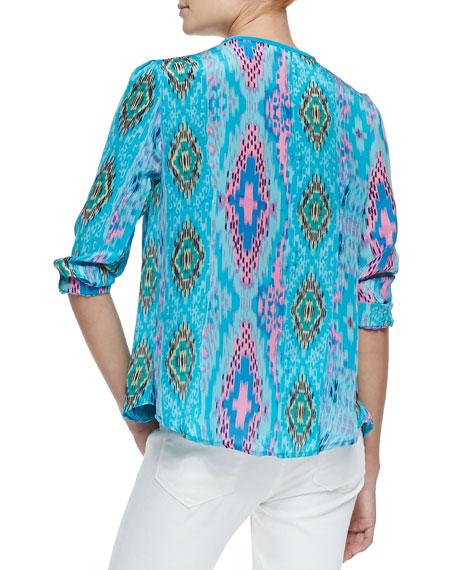 June Long-Sleeve Butterfly-Print Tunic