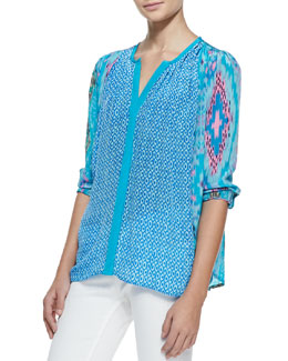 Tolani June Long-Sleeve Butterfly-Print Tunic