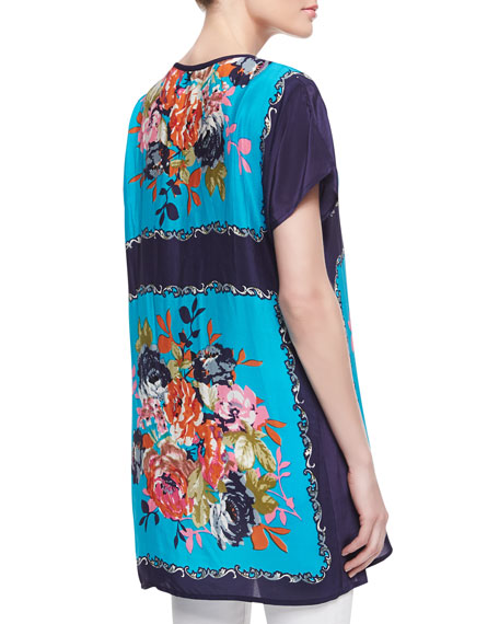Tiffany Silk Floral-Print Short-Sleeve Tunic, Women's