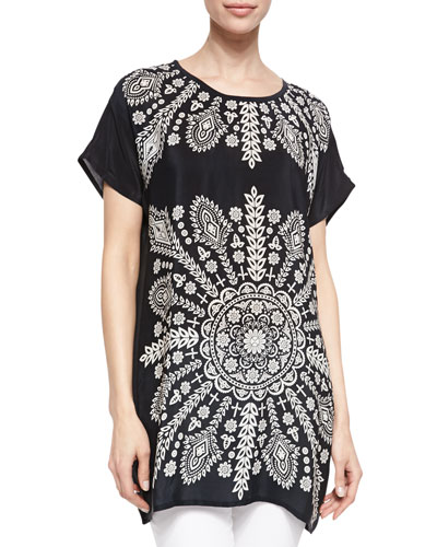 Tolani Tiffany Short-Sleeve Long Tunic
