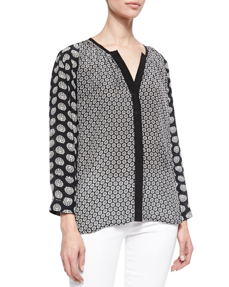 June Silk Print Long-Sleeve Tunic, Women's