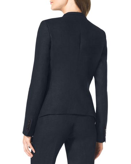 Linen Drape-Front Blazer