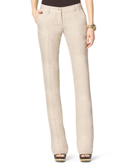 Linen Boot-Cut Trousers