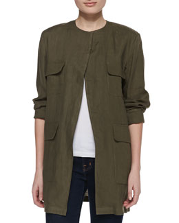 Neiman Marcus Long Safari Linen Jacket
