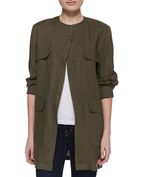 Long Safari Linen Jacket