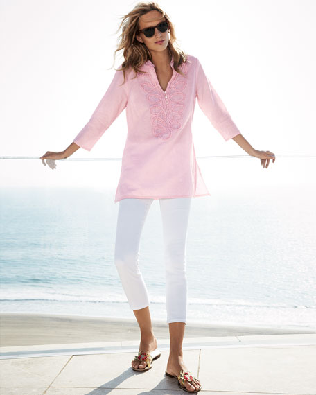 Embroidered Washed Pullover Tunic