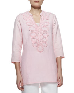 Neiman Marcus Embroidered Washed Pullover Tunic
