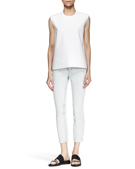 Cropped Skinny Jeans, Sky