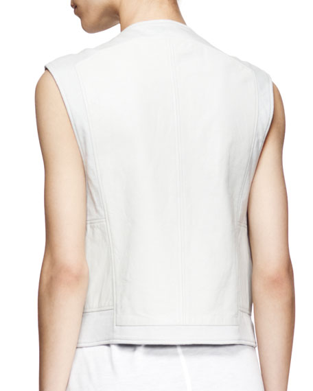Boxy Leather Biker Vest