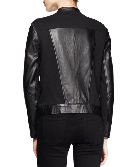 Washed Leather Combo Jacket