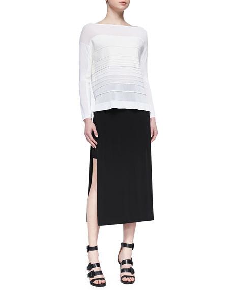 Faint High-Slit Midi Skirt