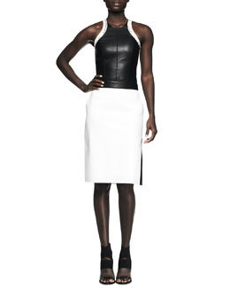 Helmut Lang Sleeveless Cutout Colorblock Combo Dress