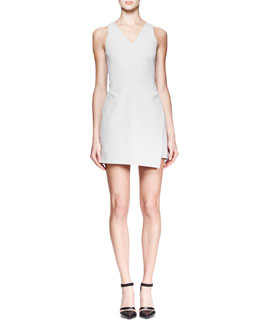 Helmut Lang Twill Back-Zip A-Line Dress