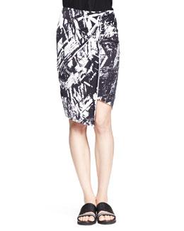 Helmut Lang Meteor Printed Asymmetric Skirt
