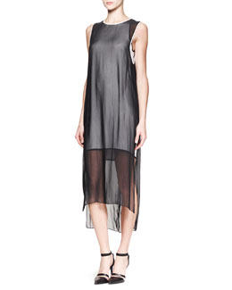 Helmut Lang Vanish Double-Layer Long Dress