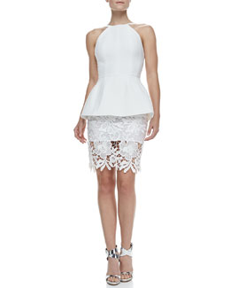 Cameo Rampart Lace-Skirt Peplum Dress