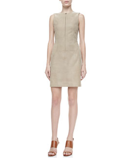 Theory Karisse Leather Sleeveless Dress, Dusty Nude