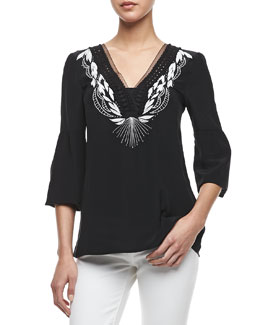 Nanette Lepore Moonlight Embroidered-Neckline Top