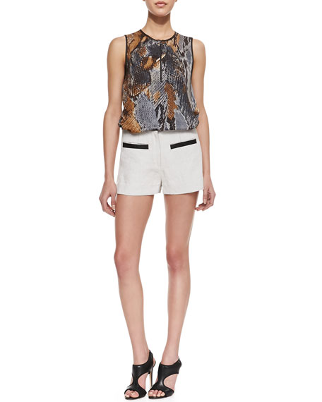 Leather Belt Welt-Pockets Shorts, Natural Gesso