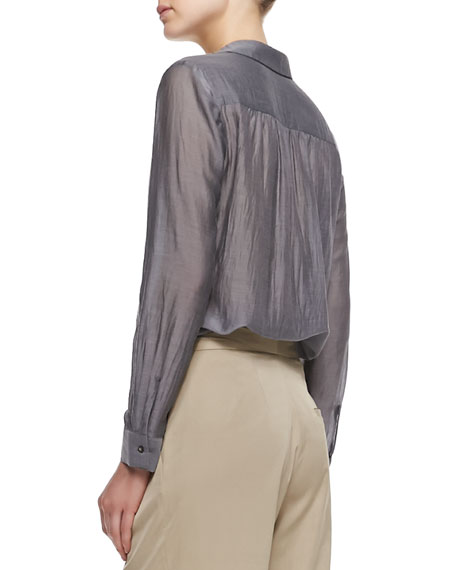 Henley Silk Long-Sleeve Blouse
