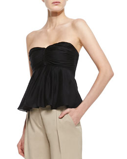 L'Agence Pleated Strapless Top, Black