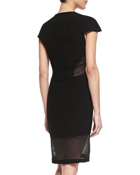 Mesh Cutout Zip-Front Dress, Black