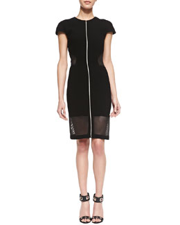 L'Agence Mesh Cutout Zip-Front Dress, Black