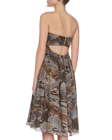 Pleated Strapless Dress, Python Print