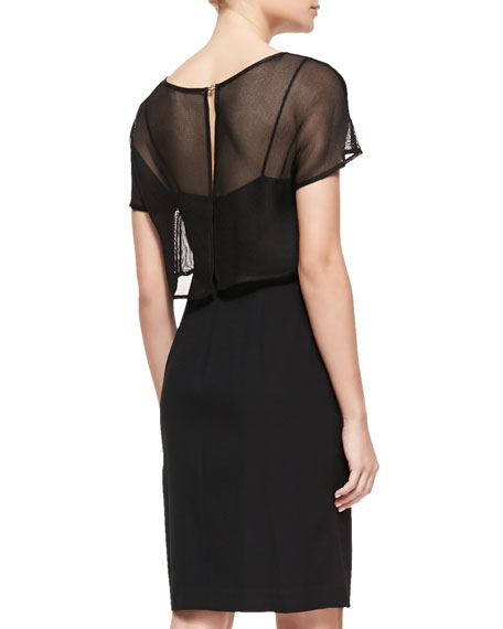 Sheer-Overlay Fitted Dress