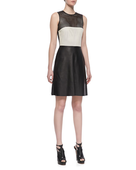 Colorblock Leather-Mesh Dress