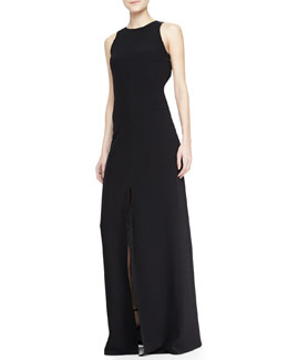 L'Agence Open-Back Tie Long Dress