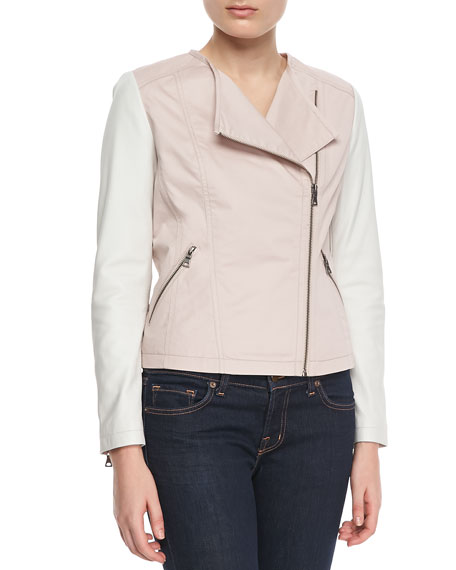 Bagatelle Colorblock Motorcycle Jacket, Pink/White