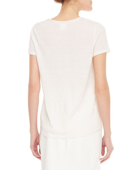 Short-Sleeve Cashmere Sweater with Pocket, Creme