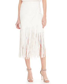 Tamara Mellon Fringe Leather Midi Skirt, Creme