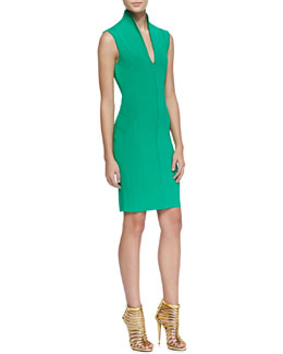 Catherine Malandrino Sleeveless Fitted High-Collar Dress
