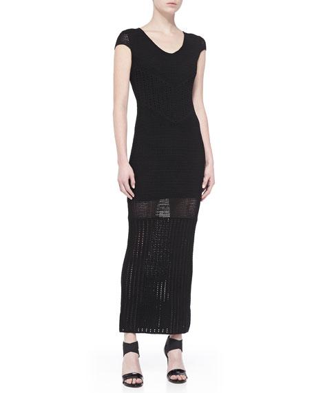 Mixed-Design Crochet Maxi Dress