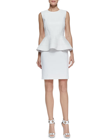 Sleeveless Peplum Ponte Dress