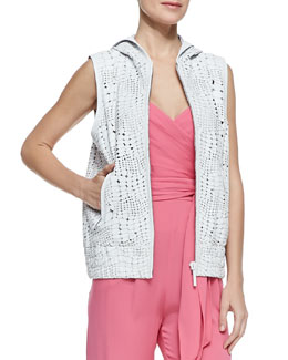 Catherine Malandrino Reptile Textured Hooded Leather Vest