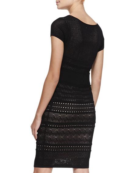 Cheryl Pointelle Shift Dress, Black