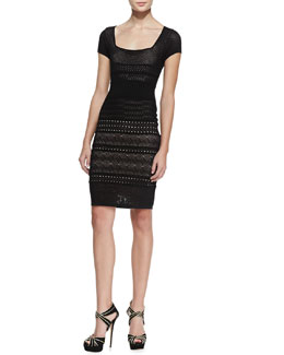 Catherine Malandrino Cheryl Pointelle Shift Dress, Black
